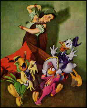 The Three Caballeros (L-r: José, Panchito, Donald) and unidentified companion.