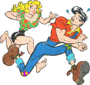 Li'l Abner and Daisy Mae on Sadie Hawkins Day. Artist: Al Capp.
