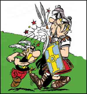 Asterix and a couple of Roman soldiers. Artist: Albert Uderzo.