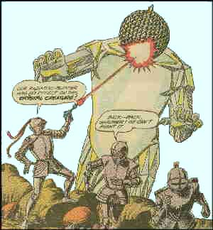 Three Knights battle a post-nuke mutant monster. Artist: Murphy Anderson.