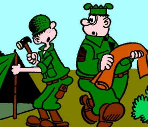 Beetle Bailey and Sgt. Snorkel, from a 1959 Sunday strip. Artist: Mort Walker.