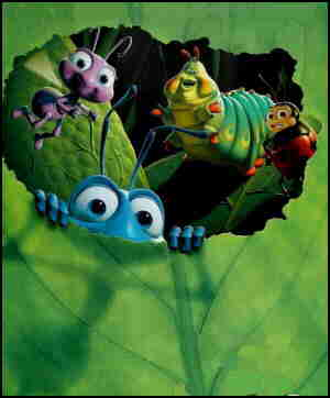 Bugs peer out from behind a leaf. From the poster.
