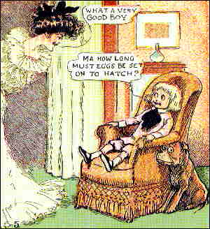 Guess what Buster is sitting on. From a 1903 Sunday page. Artist: Richard F. Outcault.