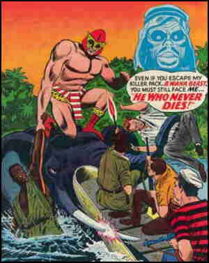 B'Wana Beast vs. He Who Never Dies. Artists: Mike Sekowsky and Frank Giacoia.