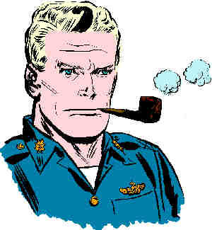 Steve Canyon, from a 1956 Sunday strip. Artist: Milton Caniff.