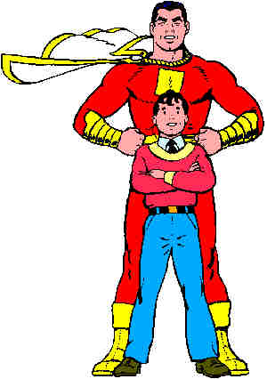Captain Marvel and Billy Batson. Artist: C.C. Beck