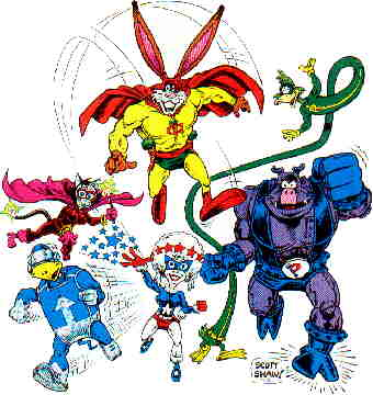 Clockwise from top: Captain Carrot, Rubber Duck, Pig Iron, Yankee Poodle, Fastback, Alleycat-Abra. Artist: Scott Shaw!.