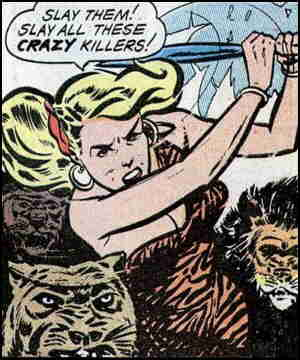 Cave Girl expresses displeasure with crazy killers. Artist: Bob Powell..