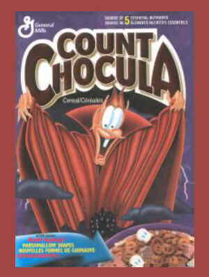 A typical Count Chocula cereal box.
