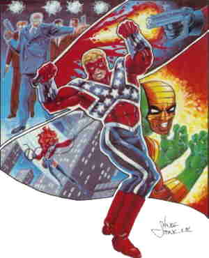Captain Confederacy, from the cover of the 1987 special. Artist: Vince Stone.