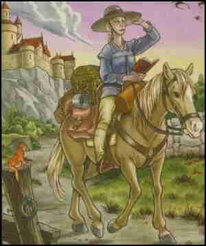 Lady Jain and her horse, Rosa, on the road to Castle Waiting. Artist: Linda Medley.