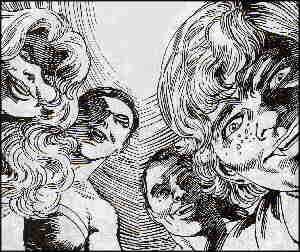 L-r: Colleen, Martine, Mickey, Dodger, from the victim's point of view. Artists: Richard Howell and Ricardo Villagran.