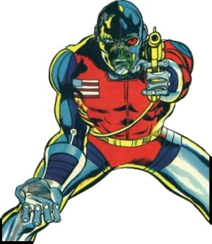 Deathlok in a typical pose. Artist: Rich Buckler.