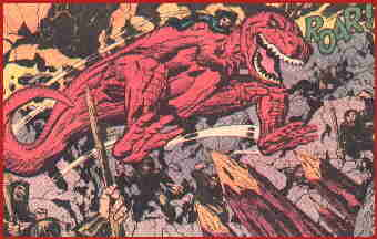 Devil Dinosaur and Moon-Boy assault an enemy stronghold. Artist: Jack Kirby.