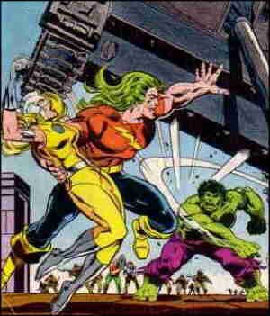 Doc in battle against his most characteristic foe. Artists: Herb Trimpe and Bob Layton.