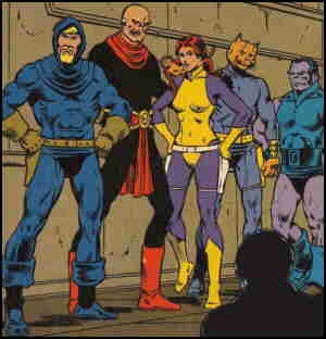 L-r: Vanth, Syzygy, Willow, Oedi, Skeevo. Artist: Jim Starlin.