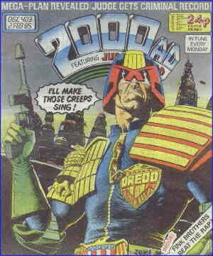 Judge Dredd'll make those creeps sing. Artist: Brian Bolland.