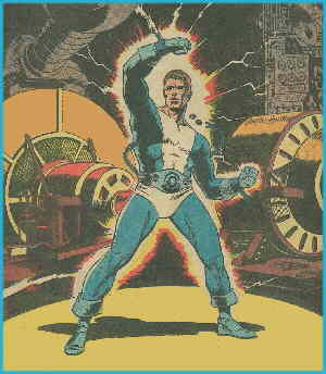 Dynamo activating his powers. Artist: Wallace Wood.