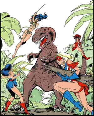 L-r: Nightveil, Tara, unidentified large reptile, Ms. Victory, She-Cat. Artists: Mark Heike and Bill Black.