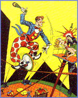 Funnyman defeats a bad guy as only he can. Artist: Joe Shuster.