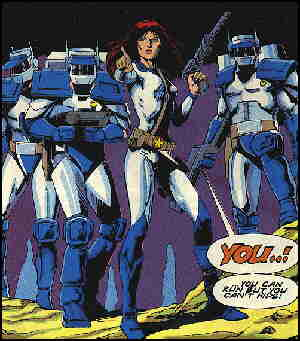 Galaxy Rangers in action, from a British comic book cover.