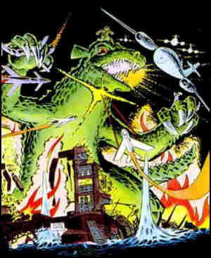 Gorgo does mighty battle with human technology. Artist: Steve Ditko.