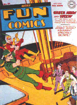 Green Arrow: A 1943 comic book cover. Artist: George Papp.
