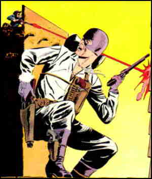 The Gunmaster in a street shoot-out. Artists: Charles Nicholas and Vince Alascia.