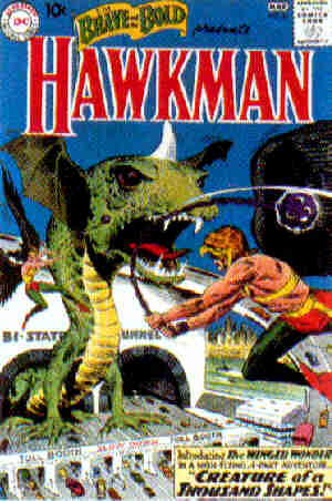 Hawkman: His introductory cover. Artist: Joe Kubert.