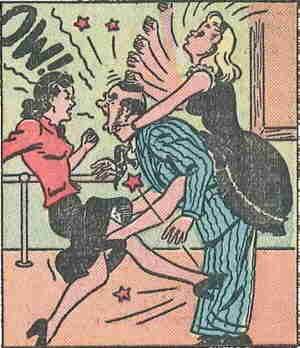 Jane (left) and Honey team up against a racketeer. Artist: Russell Ross.