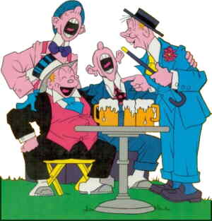 Jiggs and his pals enjoy their low-brow pleasures. Artist: George McManus.