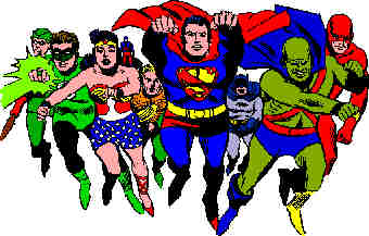 L-R: Green Arrow, Green Lantern, Wonder Woman, Atom, Aquaman, Superman, Batman, Martian Manhunter, Flash. Artist: Mike Sekowsky.