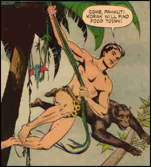 Korak and friend in search of the jungle's bounty. Artist: Russ Manning.
