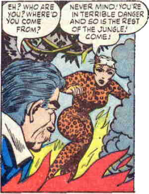 Leopard Girl battles the effects of her enemy, The Flame Witch. Artist: Al Hartley.