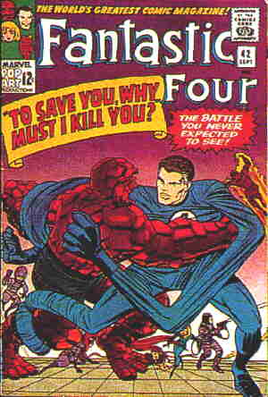 Mr. Fantastic demonstrates his super power on a 1965 Fantastic Four cover. Artist: Jack Kirby.