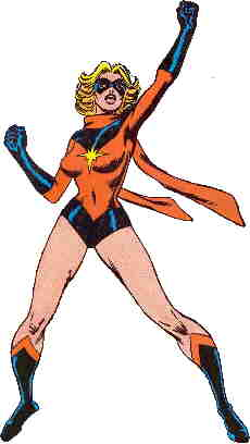 Ms. Marvel in heroic pose. Artist: John Buscema.
