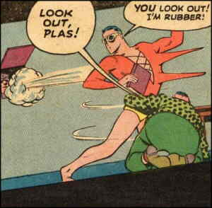 Plastic Man shows off his power. Artist: Jack Cole.