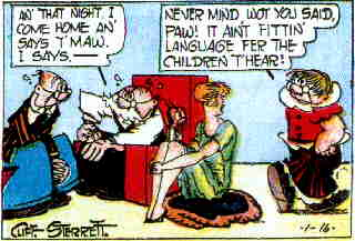 L-r: Ashur, Paw, Polly, Maw, from a 1927 Sunday page. Artist: Cliff Sterrett.