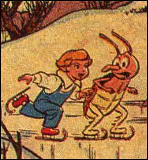 Peter and his friend Beetle have fun on a frozen pond. Artist: Walt Kelly.