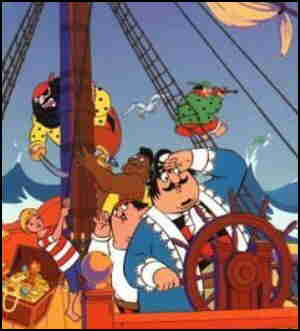 Captain Pugwash steers, observed by his arch-enemy, Cut-Throat Jake.