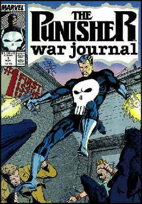 The Punisher in a typical pose. Artists: Carl Potts and Scott Williams.