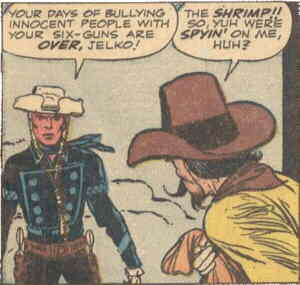 The Rawhide Kid faces down a bad guy. Artist: Jack Kirby.