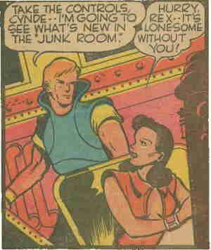 Rex's girlfriend shows her devotion. Artist: Dick Briefer.