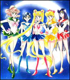 Five Sailor Scouts, or 'Seru Senshi'.