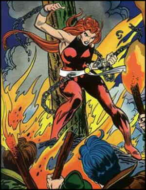 Satana greets her adoring public. Artists: Gil Kane and Mike Esposito.