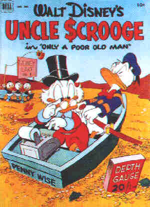 Uncle Scrooge's first starring role, 1952. Artist: Carl Barks.