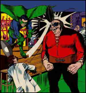 A superheroized Shadow battles a brute called The Brute.
