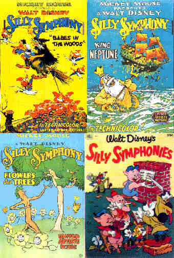 Three Silly Symphony movie posters and a comic book cover.