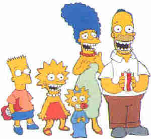 The Simpsons smile for the camera. L-R: Bart, Lisa, Maggie, Marge, Homer.