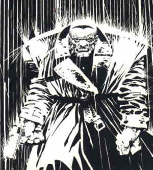 Marv takes a stroll through Sin City. Artist: Frank Miller.